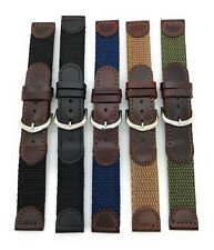 18mm Black Brown Leather Nylon Canvas Watch Band Fits Swiss Army Watch