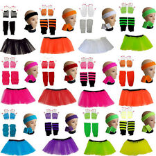 NEON TUTU SKIRT SHORT FISHNET GLOVES LEGWARMERS HEADBAND WRISTBANDS FANCY DRESS