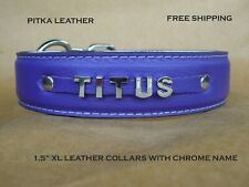 Dog Leather Collar with Name - Chrome letters Personalized XL Dog Collars -USA