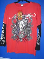 NWT Ed Hardy Kids Red Silver Panther T Shirt Long Sleeve All Sizes