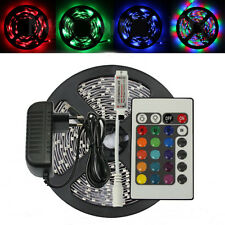 16.4FT 3528 5m RGB 300 LED SMD Flexible Light Strip Lamp+24/44Key IR +12V 2A