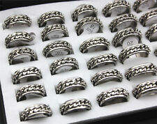 Wholesale Lots Silver Tone Chain Stainless Steel Men Jewelry Rings FREE J27