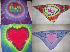Handmade Tie Dye BANDANNA/BANDANA with PICTURE DESIGN - HEART, PEACE SIGN, LOGO
