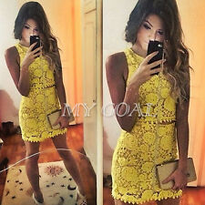 Sexy Women Two Piece Sleeveless Lace Top Bodycon Crochet Skirt Party Dress Set