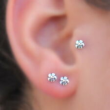 Tragus Earring Cartilage Nose Ring Piercing - Nose Stud --Sterling Silver Flower