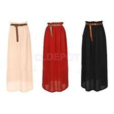 Retro Fashion Womens Girls Chiffon Pleated Long Maxi Skirt Dance Dress w/ ling
