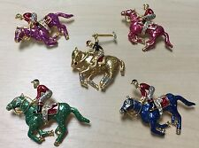 NEW STYLE SHOW VINTAGE POLO PLAYER RACE HORSE GALLOP JEWELRY CRYSTAL BROOCH PIN