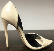 LL Shiny Open Toe D'orsay Cut Out Side Stiletto High Heel Slip On Pump Shoe Nude