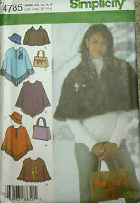 Womens Pattern for Poncho Hat Purse Cute Retro Style Simplicity 4785 Sz XS S M