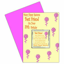 Best Friend Happy Birthday Card & Magnet Gift - Ages 16 - 100 Many Happy Returns