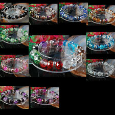 "Multicolor Crystal Crack Faceted Beads Stretch Bracelet 7"" WB117"