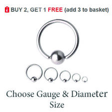 Ball Closure Ring BCR Captive Bead Hoop Steel Nose Eyebrow Tragus Lip 6mm -16mm