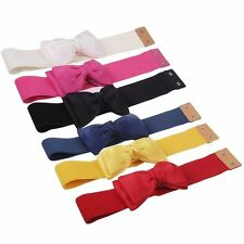 Fashion Sweet Women Bowknot Elastic Bow Wide Stretch Buckle Waistband Waist Belt