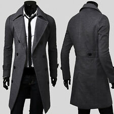 Mens Double Breasted Overcoat Trench Pea Coat Long Slim Fit suit Jacket Blazer