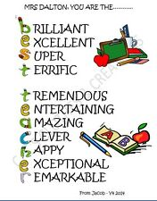 Teacher End Of Term Gift Thank You Gift Best Teacher Acrostic Poem Personalised