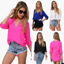 Sexy Fashion Casual Women's Loose Chiffon V-Neck Tops Long Sleeve Shirt Blouse