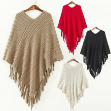 Womens Ladies Batwing Knit Poncho Winter Coat Jacket Warm Loose Cloak Cape Parka