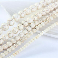 Natural White Turquoise Loose  Spacer Gemstone Beads Jewelry Finding 4/6/8/10mm