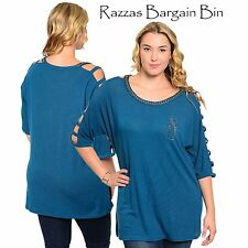 New Ladies Teal Open Sleeved Top Plus Size 14 16 18 & 20 (9772)KU