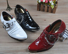 Mens England Style Pointed Toe Strap Buckles Metal Chain Formal Business Shoes