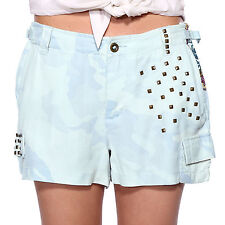 Da Nang Womens Hot Pants Unstructured 100% Silk Shorts Studed US Size 9 11 13 15