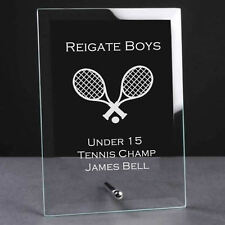 Personalised Engraved Glass Plaque Trophy Award - Tennis Sports Club
