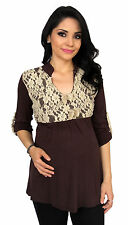 Brown Lace Maternity Long Sleeve 3/4 Sleeve Maternity Pregnancy Top  S M L XL