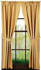 Amherst Lined Dark Yellow Gold Plaid Window Curtains 100% Cotton