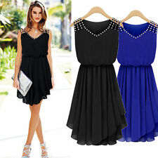 Sexy Sleeveless Evening Cocktail Party Dress Womens Lady Chiffon Casual Sundress