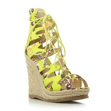 Steve Madden Ladies THEEA SM Lace Up Plaited Canvas Wedge Sandal in Multi