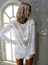 Beautiful white long sleeve light knit with large crochet detail MIA BNWT 6-14