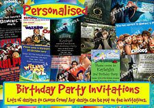 12 PERSONALISED BIRTHDAY PARTY INVITATIONS PLUS ENVELOPES. MIXED DESIGNS.