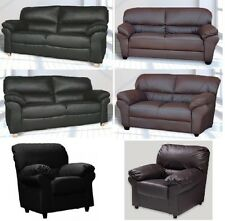 Faux Leather 3 Seater, 2 seater Sofas and Armchairs in black Or brown