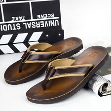 New Mens Genuine Leather Toe Post Sandals Flip Flops Casual Beach Slippers Shoes