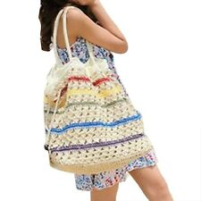 Women Striped Straw Knitted Beach casual casual big Bucket Totes Bags Straw Boho