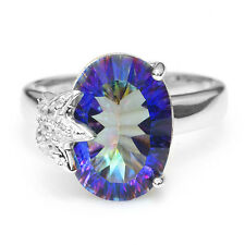 Fabulous 5.8ct Genuine Mystic Fire Blue Rainbow Topaz Ring 925 Sterling Silver