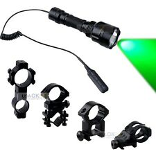 CREE C8 Green LED Hunting Tactical Flashlight For Picatinny Rail W/Rifle Mount