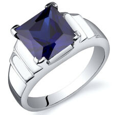Princess Cut 3.50 cts Blue Sapphire Ring Sterling Silver Sizes 5 to 9