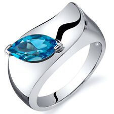 Marquise Cut 1.00 cts Swiss Blue Topaz Ring Sterling Silver Sizes 5 to 9