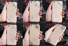 Bling Diamonds Flowers Crystal Rhinestone Clear hard Cover Case Skin For Samsung