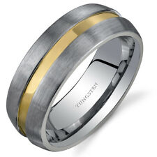 Rounded Edge 8 mm Comfort Fit Mens Rose Gold Tone Tungsten Ring Sizes 8 to 13