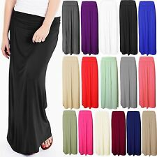 LADIES WOMENS FOLD OVER HIGH WAIST LONG PLEATED JERSEY MAXI GYPSY SKIRT 8-14