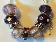 PURPLE Slider Charm Bracelet with LILAC Murano Glass Beads Crystal Glass Spacers