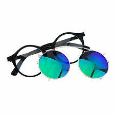 Removable Mirror Lens Sunglasses To Clear Lens Round Keyhole Frame