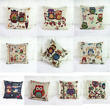 Fashion Owl Pillow Case Composite Linen Cushion Cover Square Throw Sofa Simple