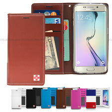 Leather Flip Wallet Card Photo ID Slot Case Cover For Samsung Galaxy