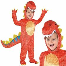 Boys Girls Childs Dinosaur T-Rex Deluxe Mascot Big Head Fancy Dress Costume Red