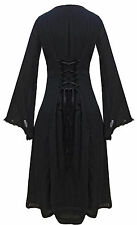 BLACK LONG MEDIEVAL CORSET LACE LINED DRESS wicca pagan goth witch occult DR114