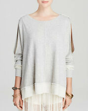 NWT FREE PEOPLE French Terry Dandyline Pullover in Grey Heather $98-Sz XS,L