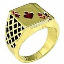 18K GOLD EP LUCKY ACE SPADES MENS POKER JACK CARD RING red sz 8-14 you choose